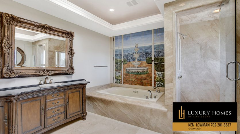 bath at Las Vegas Estate Home for Sale, 9605 Verlaine Court