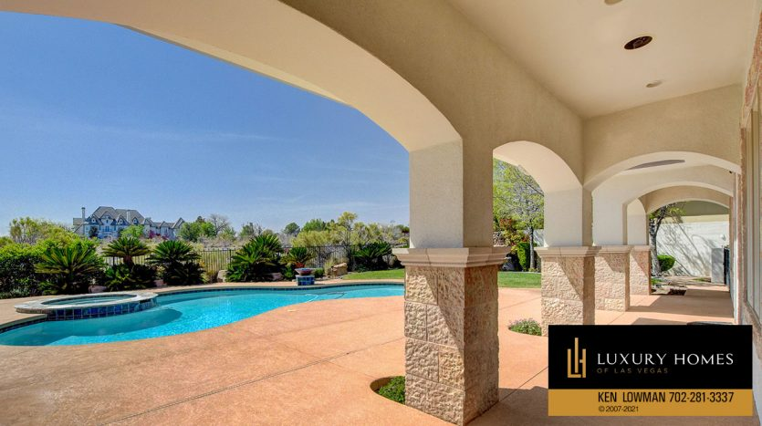 pool side at Las Vegas Estate Home for Sale, 9605 Verlaine Court