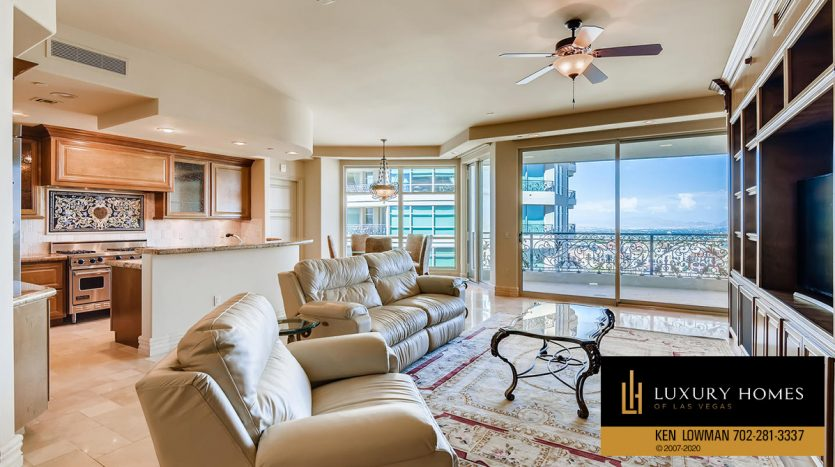 living area at One Queensridge Place Home for Sale, 9103 Alta Dr UNIT 1007