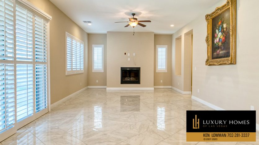 living room area with fireplace at Summerlin (Altura) Home for Sale, 12030 Vento Forte Av