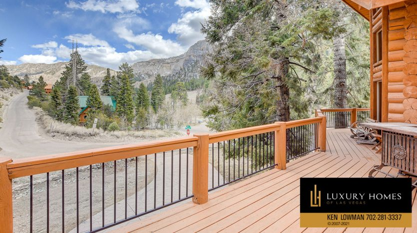 balcony view at Mt Charleston Home for Sale, 352 Echo Rd