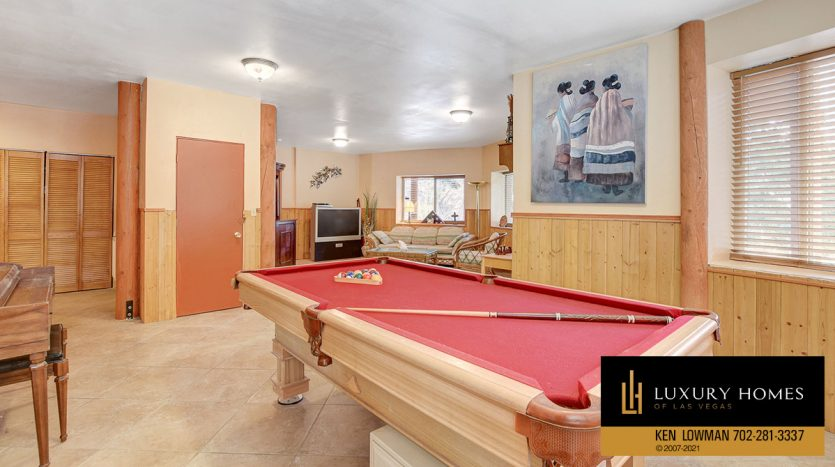 snooker table at Mt Charleston Home for Sale, 352 Echo Rd