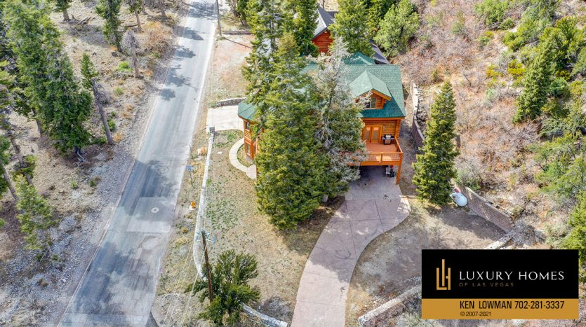 drone view of Mt Charleston Home for Sale, 352 Echo Rd