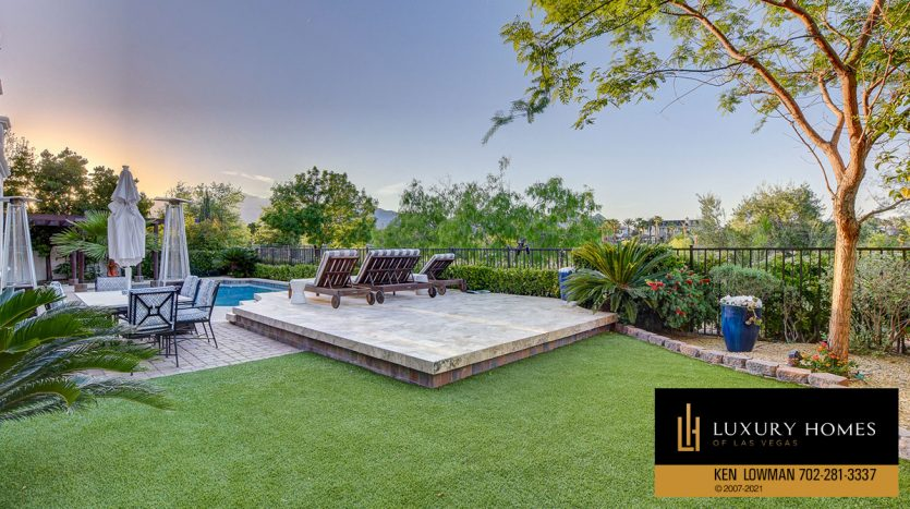 poolside lawn at Red Rock Country Club Home for Sale, 11606 Morning Grove Dr