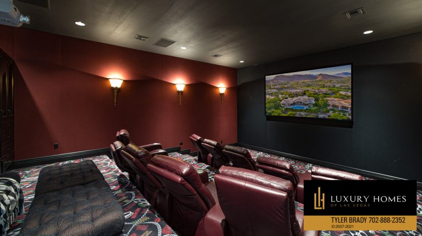 home theater at The Ridges Home for Sale, 25 Promontory Ridge Dr, Las Vegas, NV 89135