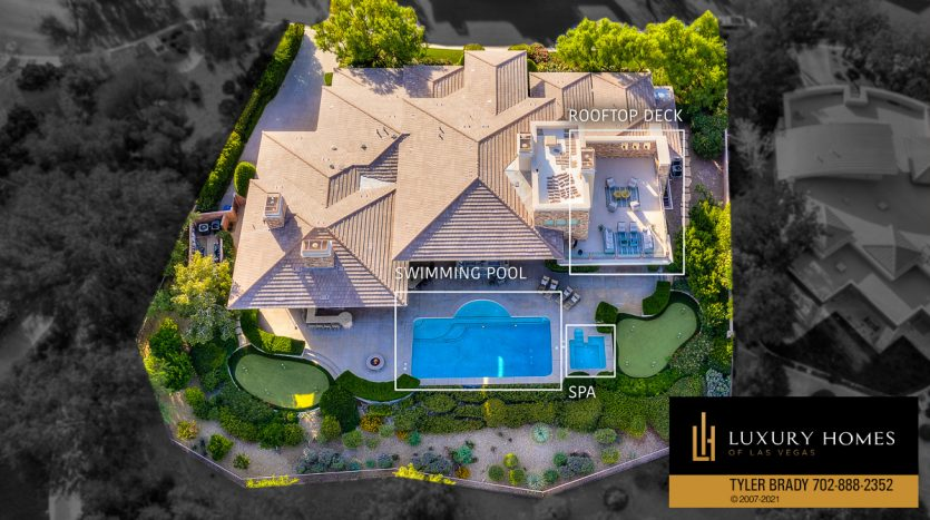 drone view of The Ridges Home for Sale, 25 Promontory Ridge Dr, Las Vegas, NV 89135