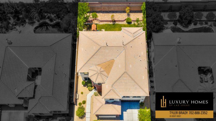 overhead drone view at Centennial Hills Home for Sale, 6883 Desert Island St, Las Vegas