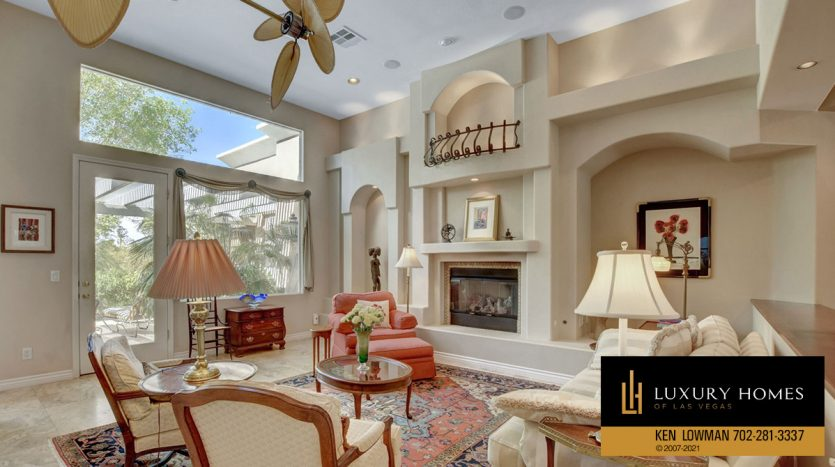 fireplace at Red Rock Country Club Home for Sale, 11580 Evergreen Creek Ln, Las Vegas