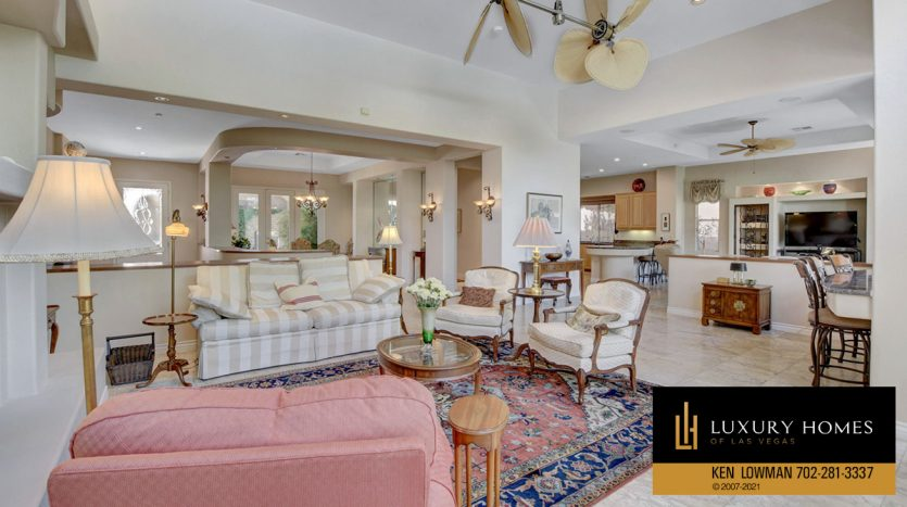 living room at Red Rock Country Club Home for Sale, 11580 Evergreen Creek Ln, Las Vegas