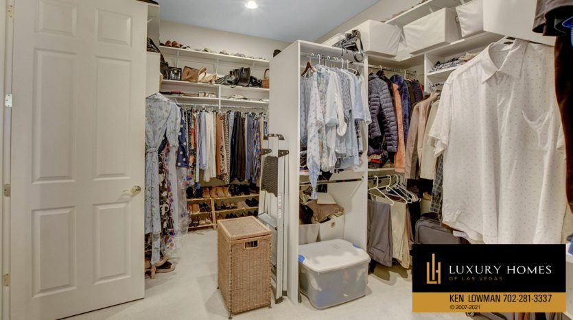 clothes closet at Red Rock Country Club Home for Sale, 11580 Evergreen Creek Ln, Las Vegas