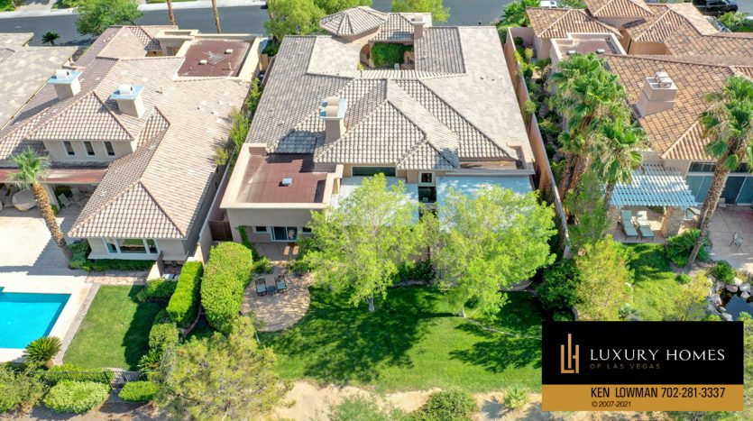 drone view of Red Rock Country Club Home for Sale, 11580 Evergreen Creek Ln, Las Vegas