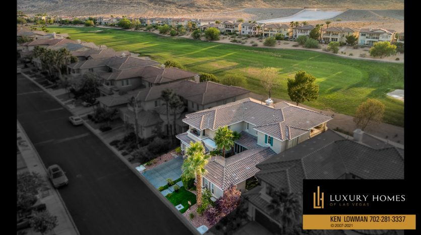 drone view of Red Rock Country Club luxury home, 1955 Orchard Mist St