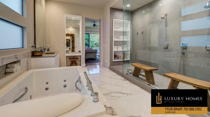 bath and shower area at The Ridges Home for Sale, 4165 Bronze Ridge St, Las Vegas