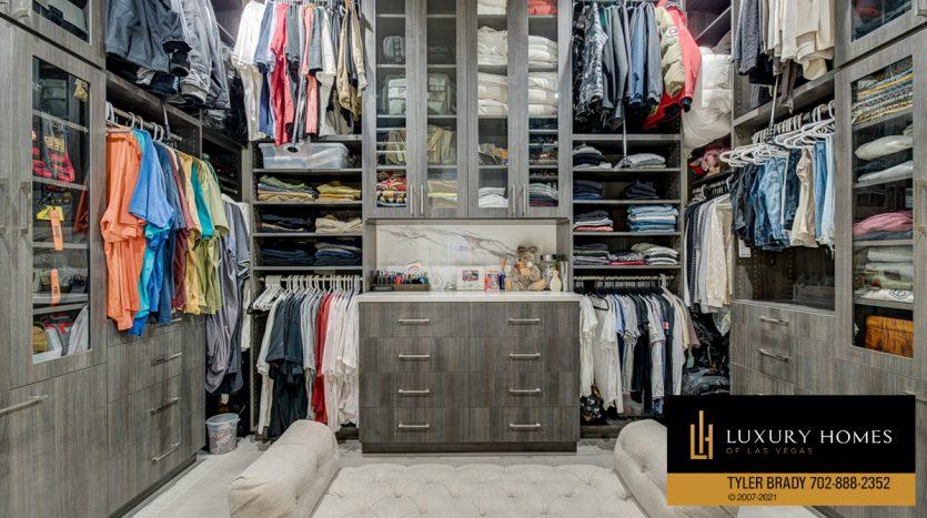 dressing closet at The Ridges Home for Sale, 4165 Bronze Ridge St, Las Vegas