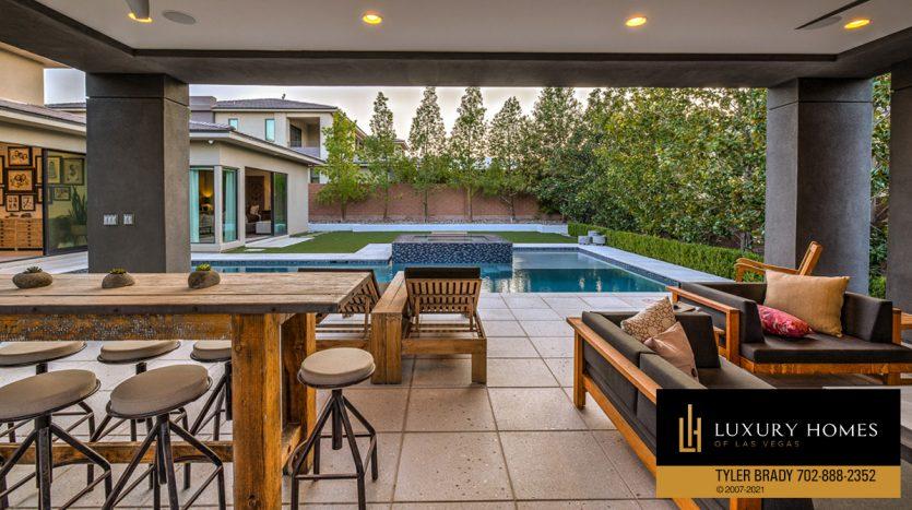 poolside at The Ridges Home for Sale, 4165 Bronze Ridge St, Las Vegas