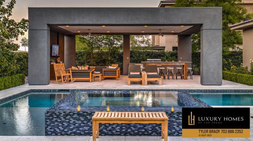 poolside seating at The Ridges Home for Sale, 4165 Bronze Ridge St, Las Vegas