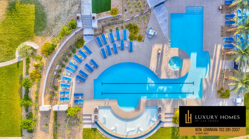 drone view of pool at Trilogy at Summerlin Luxury Home, 4300 Veraz St