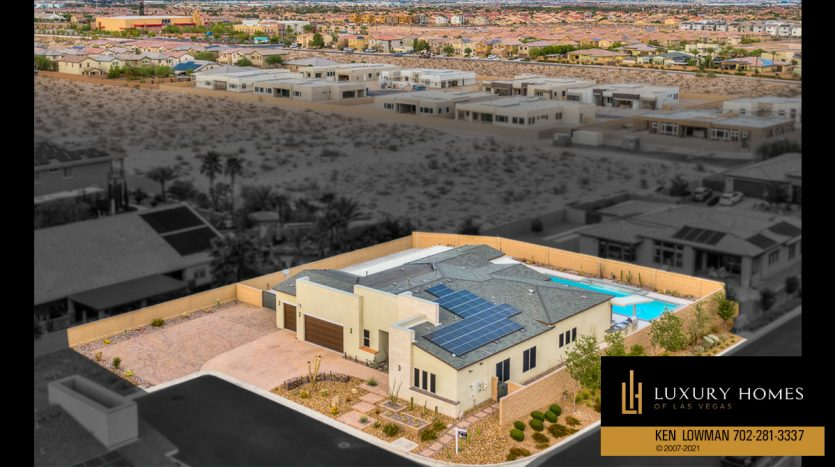 drone view of neighborhood at Las Vegas Luxury Home, 8306 Mojave Creek Court, Las Vegas