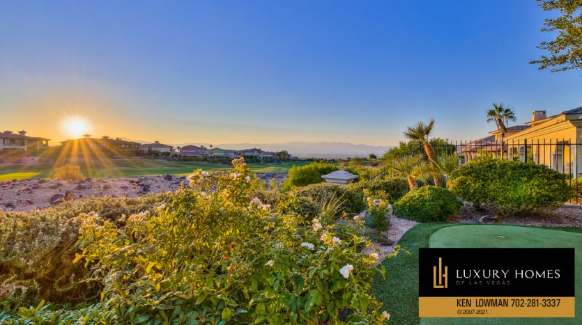 evening sun view at BBQ area at Seven Hills Luxury Home for sale, 1535 Teramo, Henderson, NV 89052